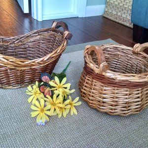 Two Vintage Farmhouse Boho  Baskets Wood/Wicker